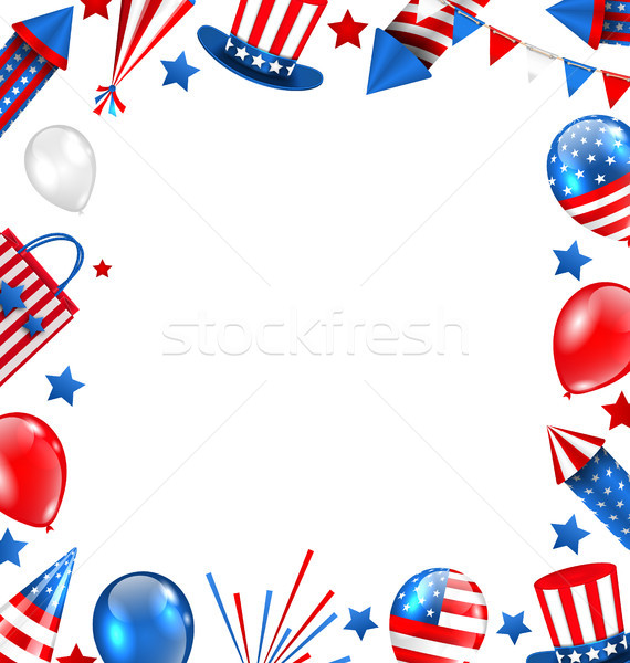 Colorful Border for American Holiday, Traditional Symbols, Objects, Icons Stock photo © smeagorl