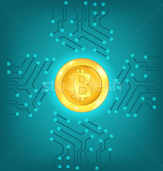 Stock fotó: áramkör · valuta · bitcoin · virtuális · pénz · illusztráció