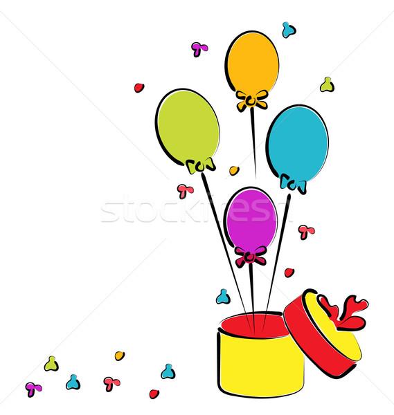 Ouvrir coffret cadeau ballons anniversaire coloré croquis Photo stock © smeagorl
