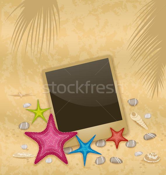 Vintage background with photo frame, starfishes, pebble stones,  Stock photo © smeagorl