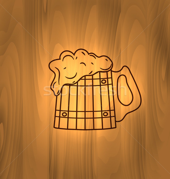 Mug Beer Foam Scorch Wooden Wall Stock photo © smeagorl