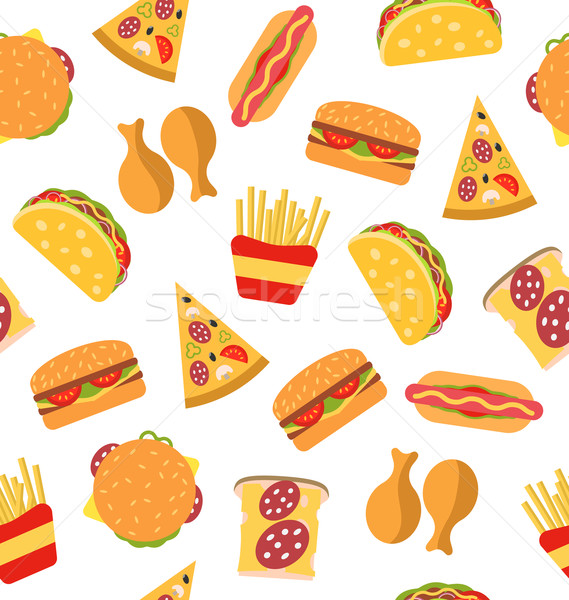 Seamless Pattern with Set Fast Food Flat Icons Stock photo © smeagorl