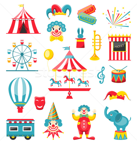 Circus and Carnival Icons Isolated on White Background Stock photo © smeagorl