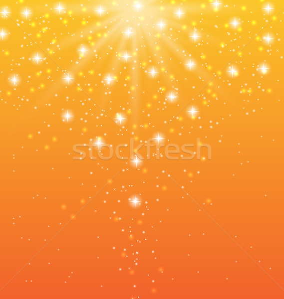Abstract orange background with sun rays and shiny stars Stock photo © smeagorl
