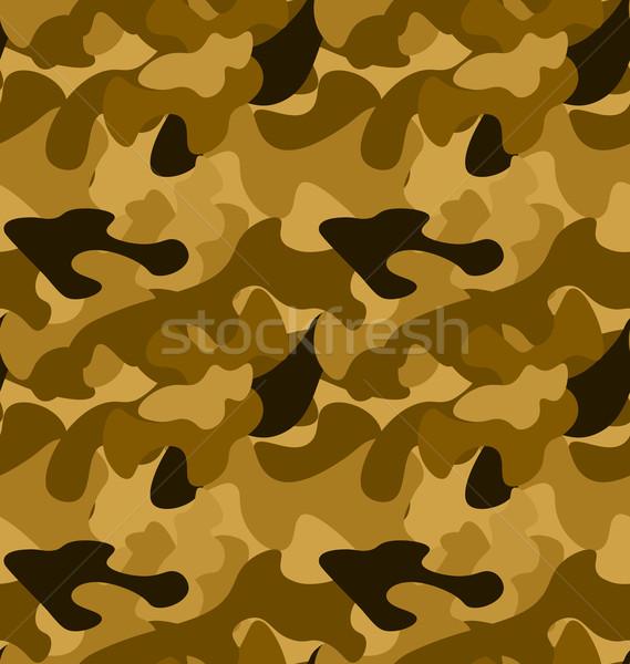 Katonaság álca végtelen minta citromsárga barna színek Stock fotó © smeagorl