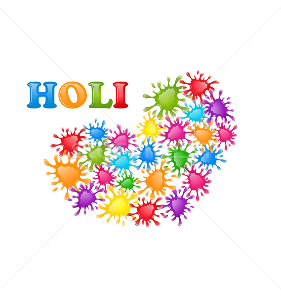 Colorful Paint Splatter in Form Heart for Indian Festival Holi C Stock photo © smeagorl