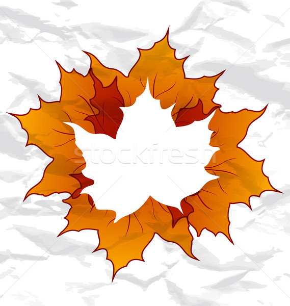 Autumnal maple leaves, crumpled paper texture, copy space for yo Stock photo © smeagorl