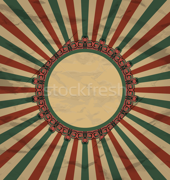 Retro vintage grunge label on sun rays background Stock photo © smeagorl