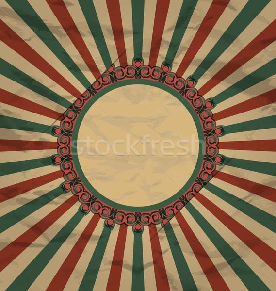 Retro vintage grunge label zon stralen Stockfoto © smeagorl