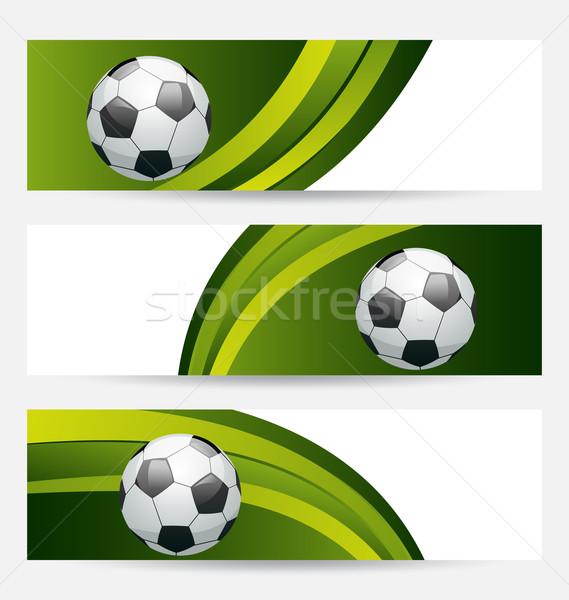 Zestaw piłka nożna karty miejsce tekst ilustracja Zdjęcia stock © smeagorl