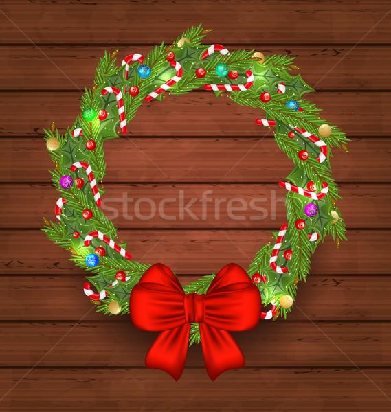 Natale vacanze decorazione legno illustrazione albero Foto d'archivio © smeagorl