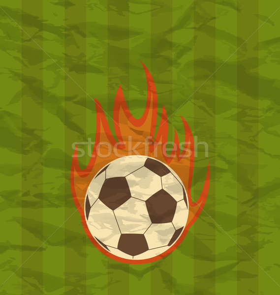 Stock photo: Retro football flyer with ball in fire flames