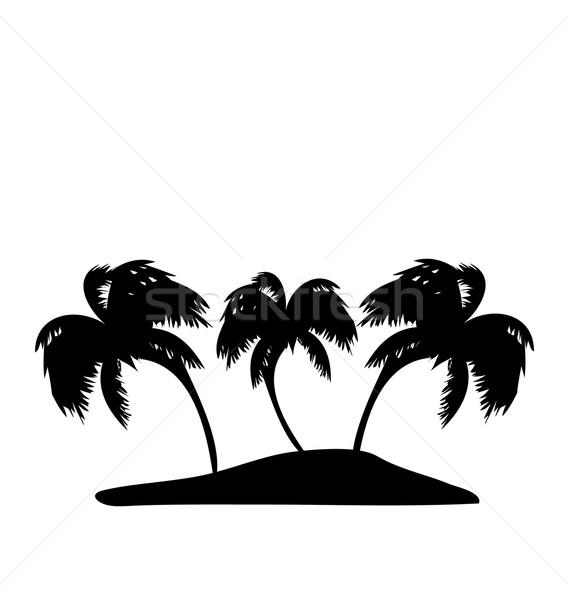 Trópusi sziget pálmafák sziluett illusztráció tengerpart fa Stock fotó © smeagorl