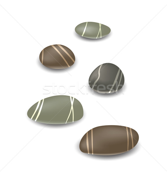 Sea pebbles collection with shadows on white background Stock photo © smeagorl