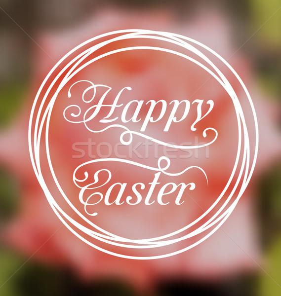 Joyeuses pâques titre floue illustration fleur Photo stock © smeagorl