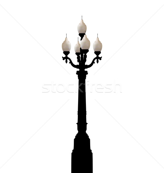 Vintage forged lamppost isolated on white background  Stock photo © smeagorl