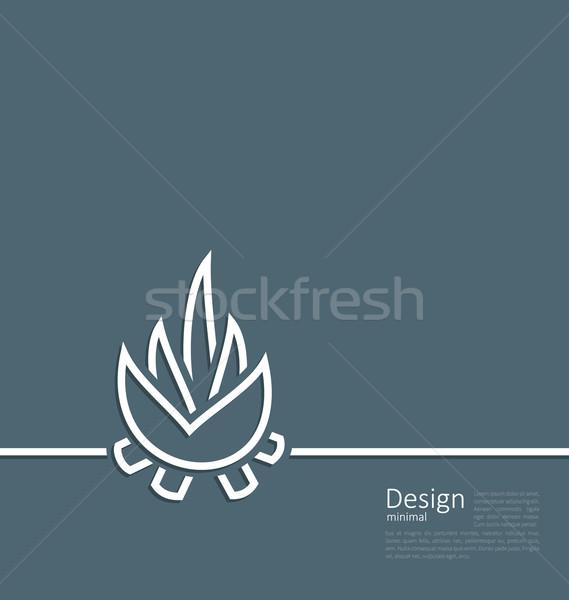 Illustration logo of bonfire, symbol of camping, simple flat sty Stock photo © smeagorl