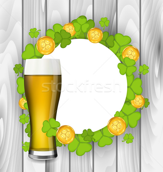 Celebration card with glass of light beer, shamrocks and golden  Stock photo © smeagorl