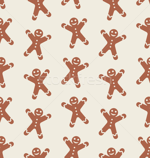 Seamless Pattern with Gingerbread Man Stock photo © smeagorl