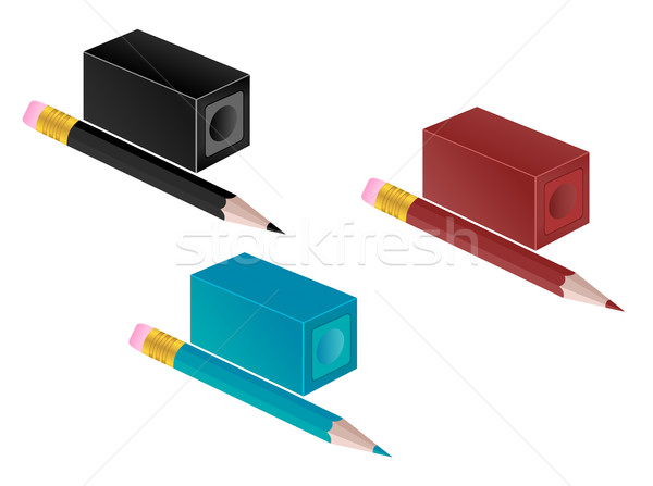 High detail illustration of pencil and pencil sharpener Stock photo © smeagorl