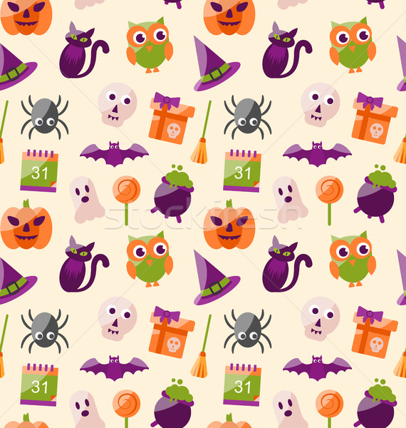 Halloween Seamless Pattern with Colorful Flat Icons Stock photo © smeagorl