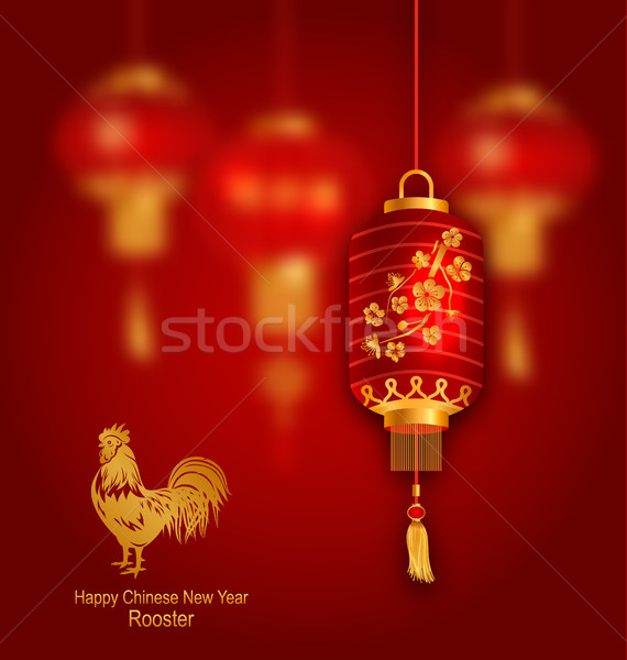 Blurred Background with Red Lanterns and Rooster Stock photo © smeagorl