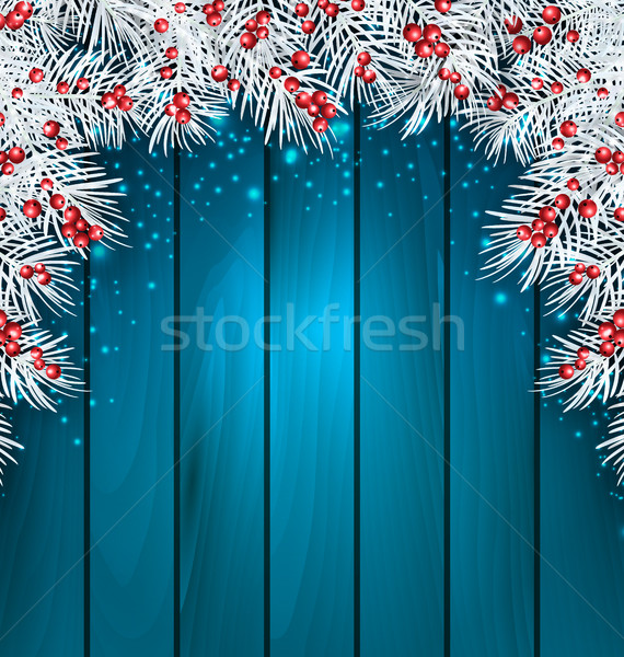 Christmas Wooden Background with Fir Tree Twigs Stock photo © smeagorl