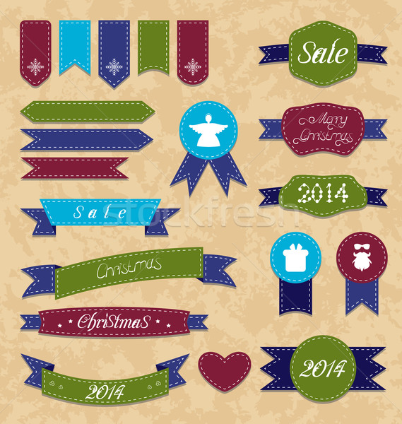 Christmas set geometric emblems and ribbons Stock photo © smeagorl