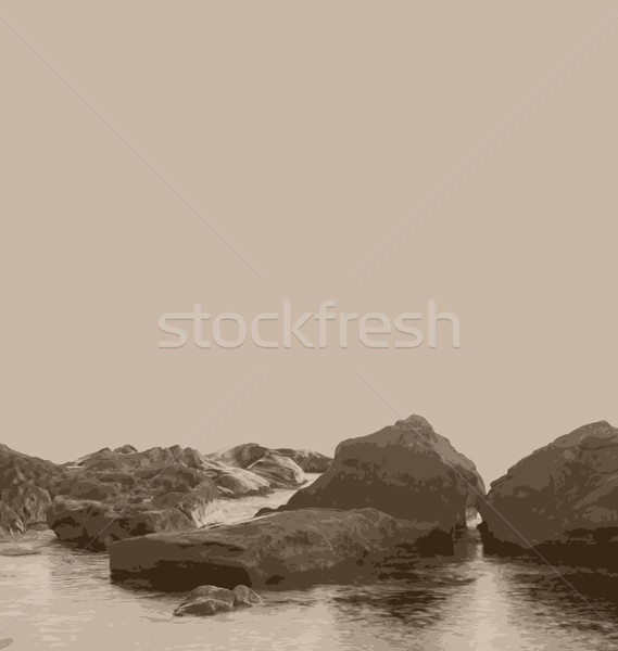 Vintage nature picture, sea and stones Stock photo © smeagorl