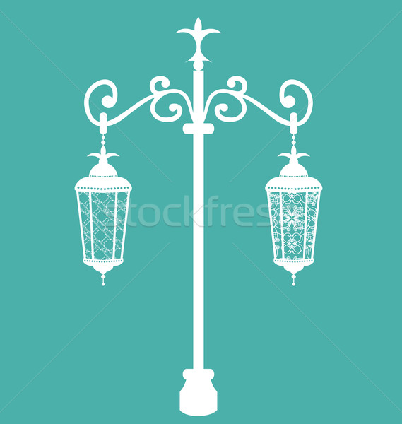 Vintage forging ornate streetlamps isolated Stock photo © smeagorl