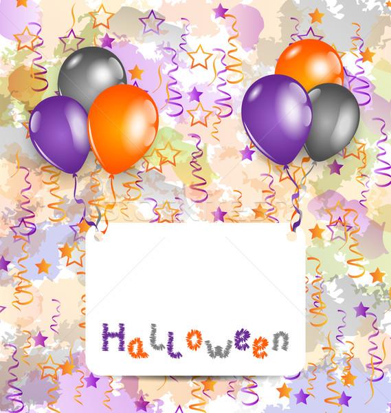 Foto stock: Halloween · cartão · conjunto · colorido · balões · ilustração
