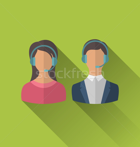 Icons of male and female avatars for operators call center or su Stock photo © smeagorl