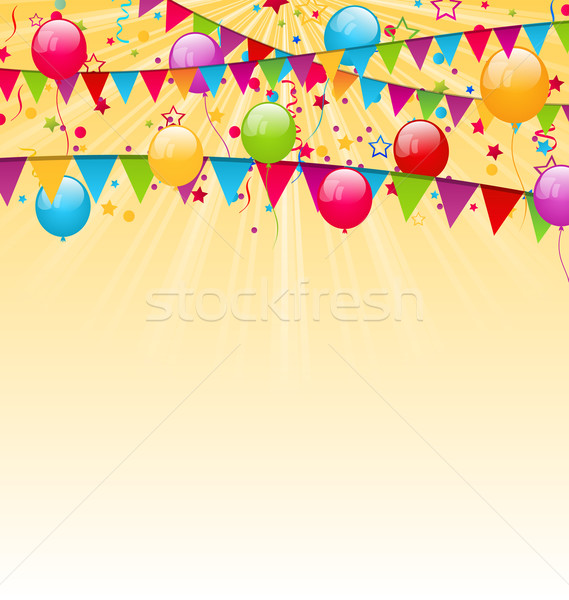 Holiday background with colorful balloons, hanging flags and con Stock photo © smeagorl