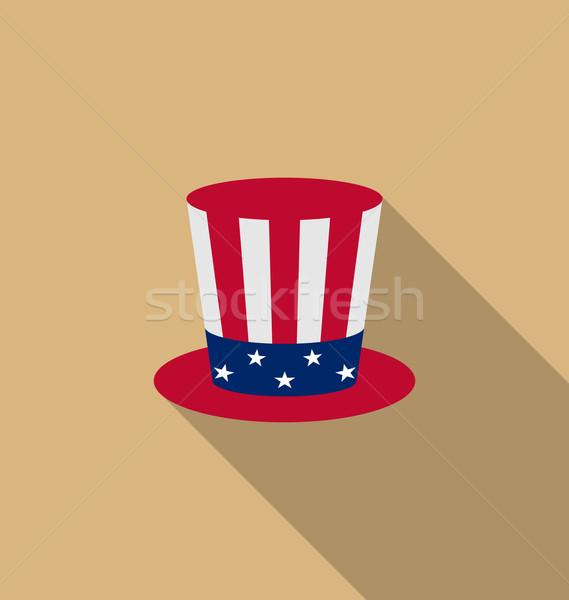 Amca şapka amerikan tatil ikon uzun Stok fotoğraf © smeagorl