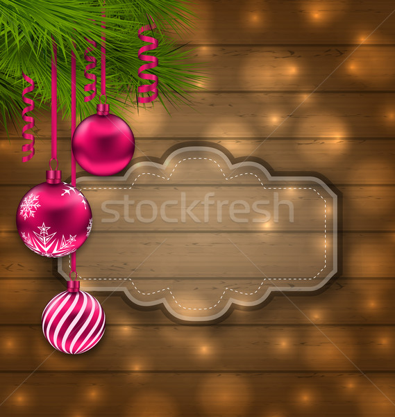 Christmas Label with Balls and Fir Twigs Stock photo © smeagorl
