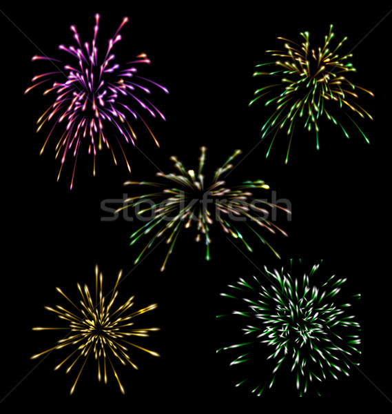 Collection five holiday Fireworks Stock photo © smeagorl