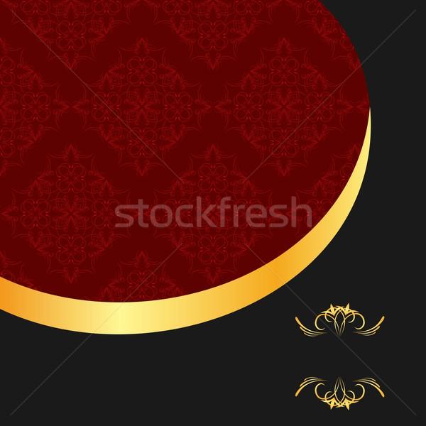 Illustration the black gold red invitation frame for elegant des Stock photo © smeagorl