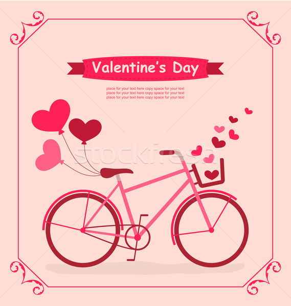 Bicycle with balloons and hearts Romantic Birthday card Stock photo © smeagorl
