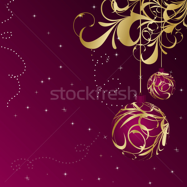 Stock photo: Elegant christmas floral background with balls