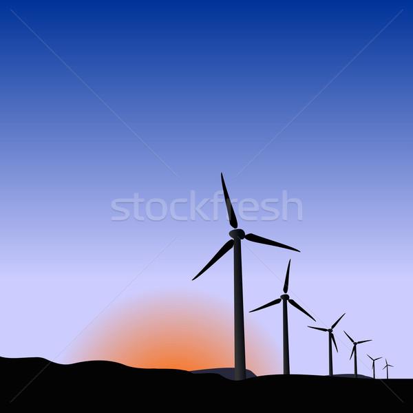 Realistisch illustratie wind zonsopgang gras natuur Stockfoto © smeagorl