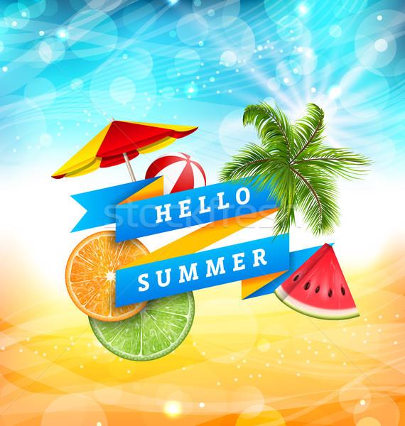Zomer leuk poster ontwerp watermeloen paraplu Stockfoto © smeagorl