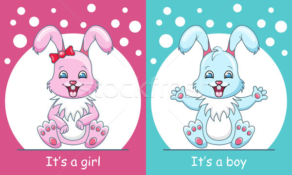 Baby Shower Greeting Card with Rabbits Boy and Girl, Smiling Children Stock photo © smeagorl