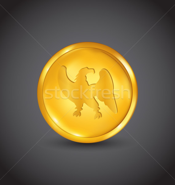 Golden coin with eagle isolated on black background Stock photo © smeagorl
