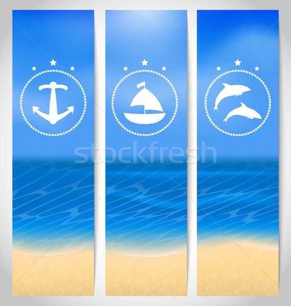 Szett címkék tengerpart nyár kártyák illusztráció Stock fotó © smeagorl