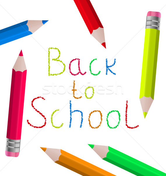 Stock photo: Back to school message with pencils on white background