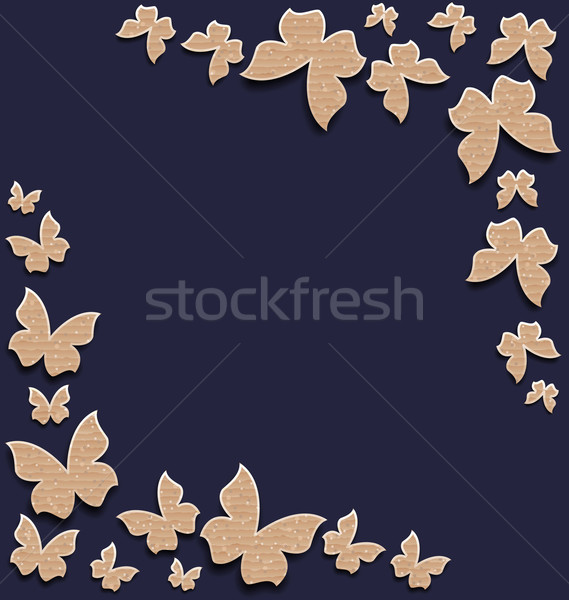 Stock photo: Cute card with butterflies, composition made in carton paper