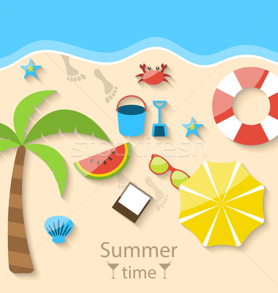 Summer time with flat set colorful simple icons on the beach Stock photo © smeagorl