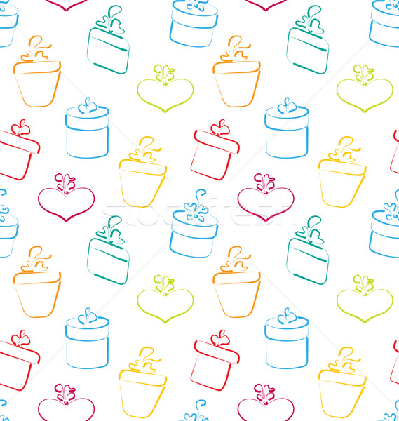 Seamless Wallpaper of Sketch Colorful Gift Boxes Stock photo © smeagorl