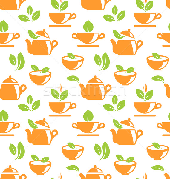 Seamless Pattern with Teapots and Teacups Stock photo © smeagorl