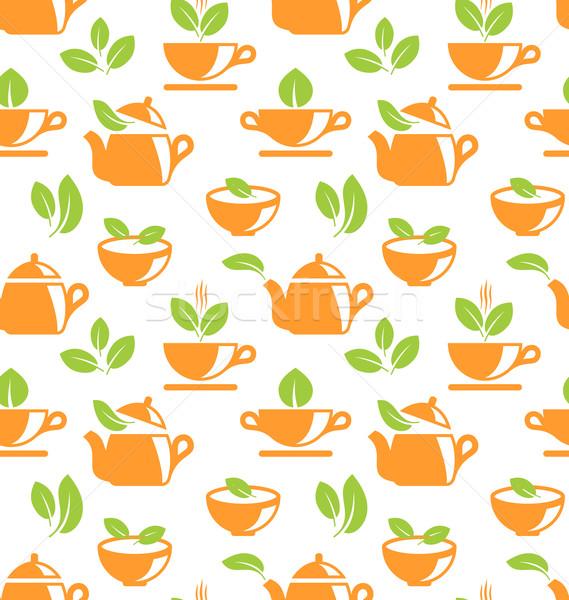 иллюстрация травяной чай здоровья кухне зеленый Сток-фото © smeagorl